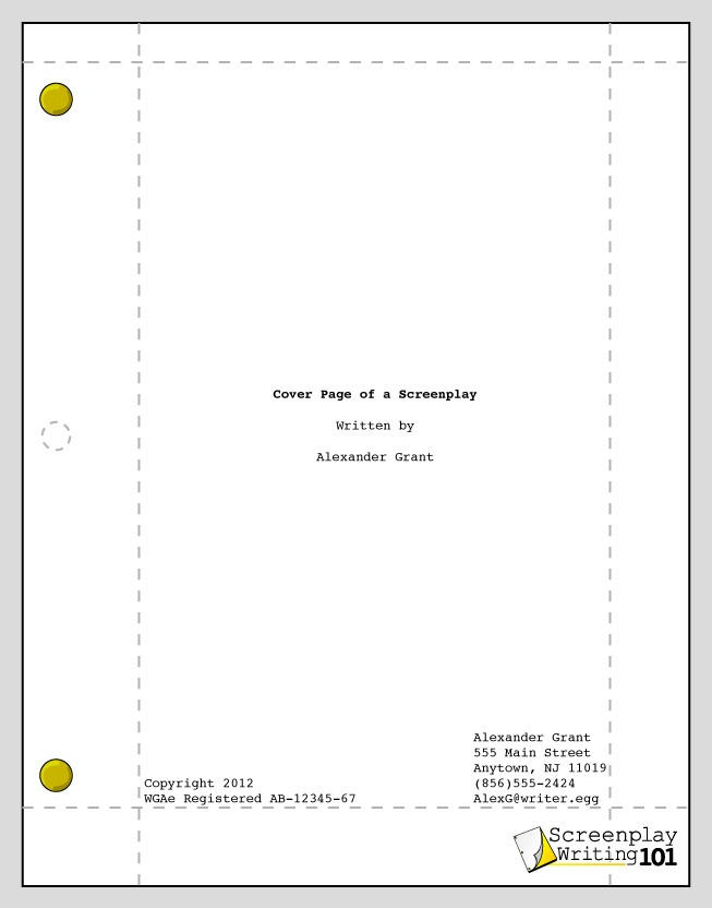 Cover Page  Screenplay Format in 2019  Screenplay format Cover pages Lettering