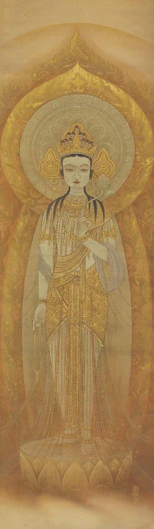 Golden eleven-headed kannon, Godded of Mercy. Buddhist fine art.