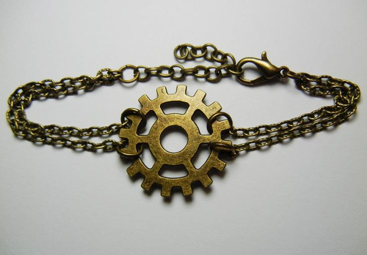 Bronze Gear Chain Bracelet by FoxliciousDesign on Etsy