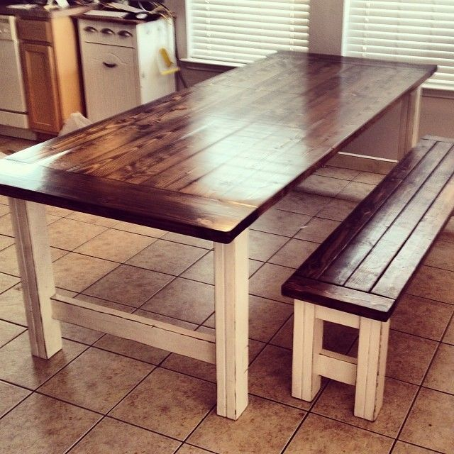 stained and distressed farmhouse table and bench do it yourself home projects from ana white