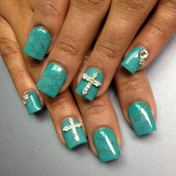 Turquoise and silver w/cross nails  thenailboss