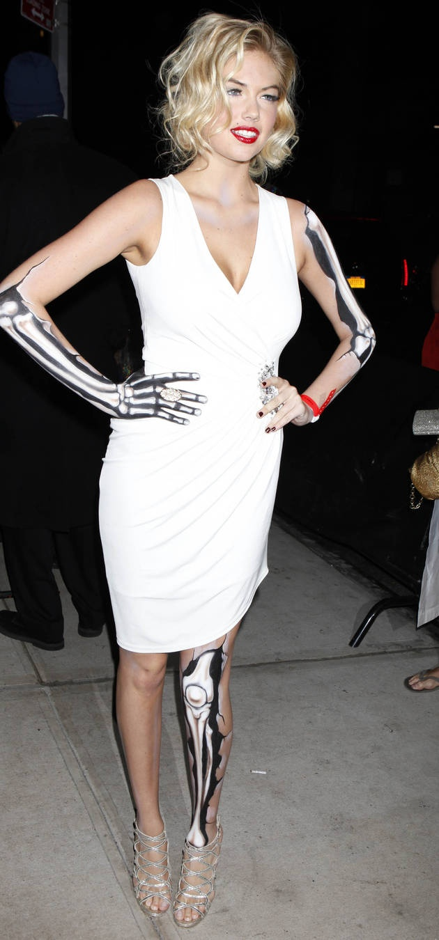 Kate Upton as a skeleton Marilyn Monroe.