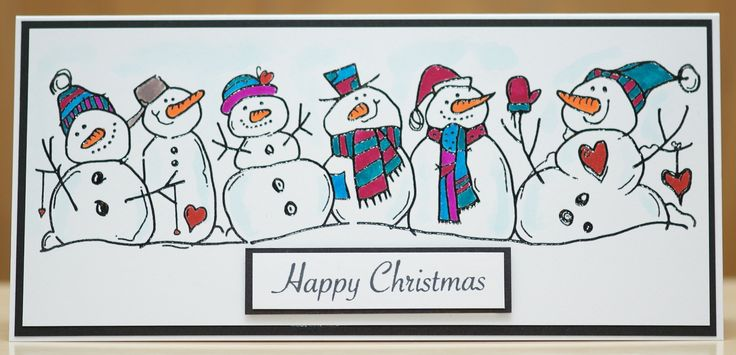Woodware Snowman Family. Heat embossed with fine black embossing powder and coloured with Koi Brush pens.
