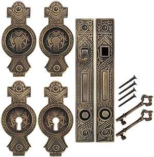 Oriental Pocket Door Pull with Keyhole in Antique-By-Hand | House of Antique Hardware