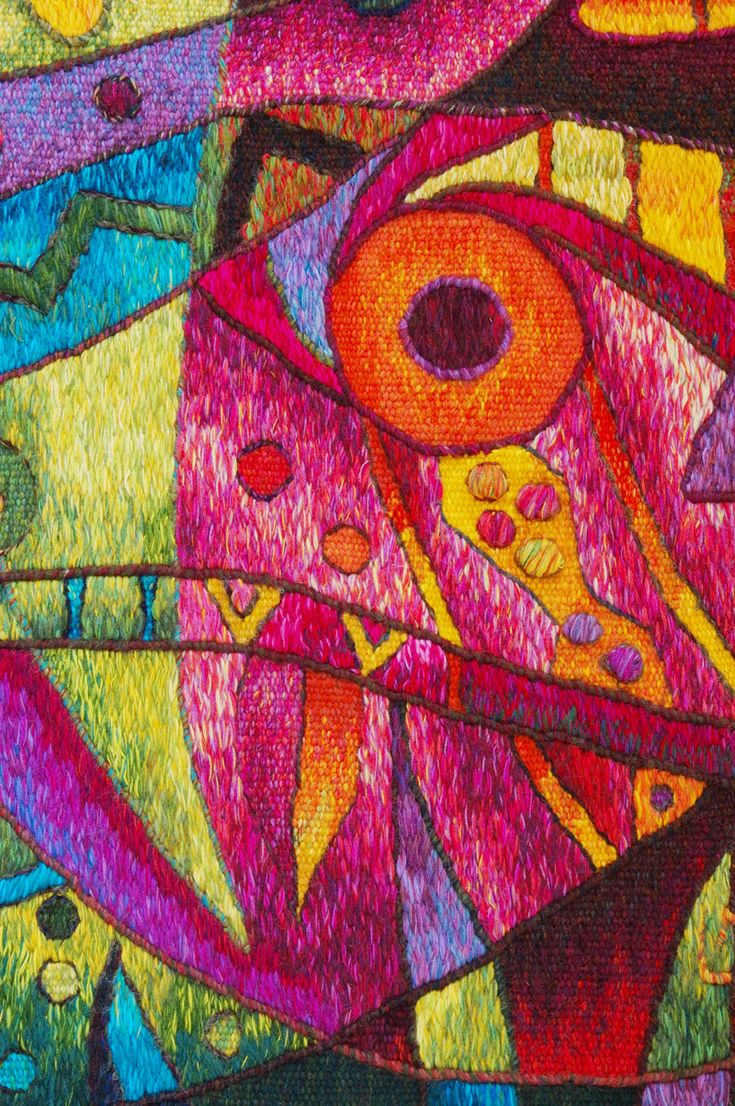 Handwoven Tapestry Art by Maximo Laura - Meeting of Two Fish - Detail Photo