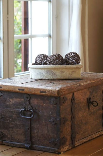 Antique French chest beside a window - low enough to not interrupt the view, but large enough to make a statement of it's own. Discover our range today #chezpluie www.chezpluie.com
