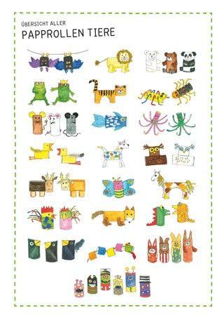 PDF zum Herunterladen: 22 Ideen zum Basteln von Tieren aus einfachen Papprollen. Gibt es bei Labbé.