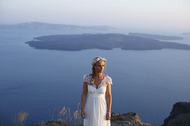Kelly & Tony's romantic DIY wedding in Santorini, Greece
