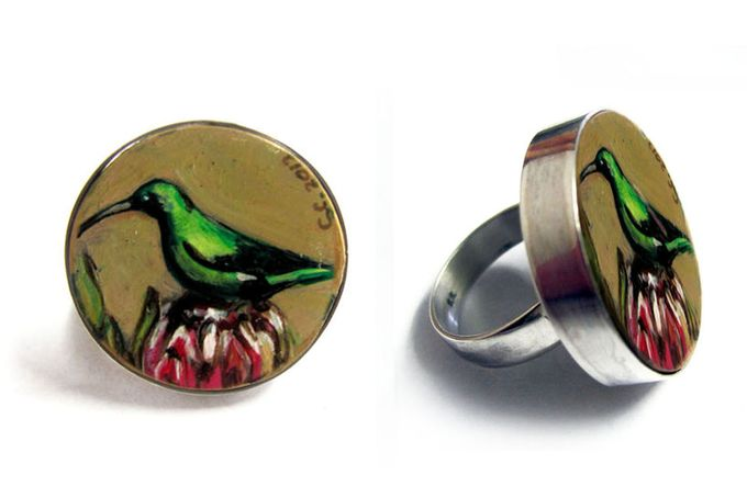 Hand Painted Wooden Rings in Silver by Clari Design