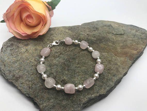 Cuarzo rosa y cristal Swarovski pulsera de elementos