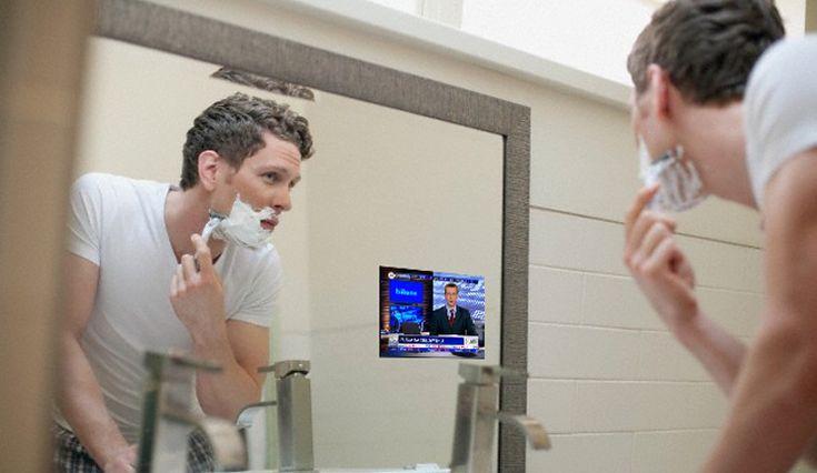 A gdyby tak podczas golenia obejrzeć wiadomości... #shaving #mirrortv #tbinyhebathroom