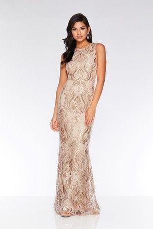 71519ac8ec Quiz Sequin Baroque Pattern Sleeveless Maxi Dress | my top ...