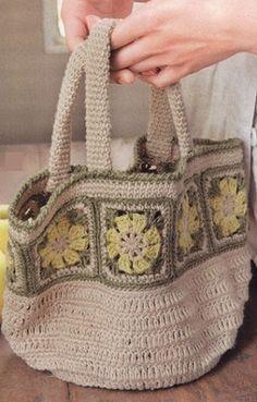 Crochet Handbag with Square Motif