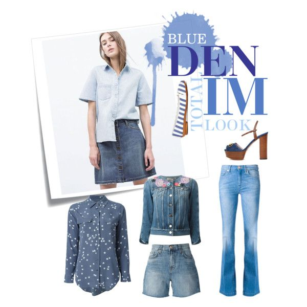 Total Denim by spinnaker-sanremo-alassio-portofino on Polyvore featuring moda, Equipment, Christopher Kane, 7 For All Mankind and Post-It