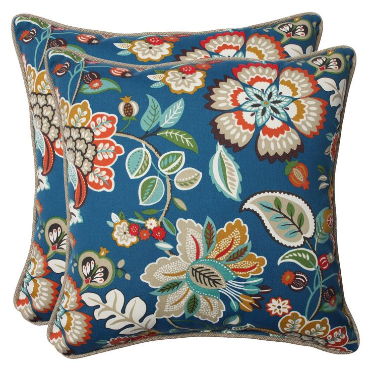 Pillow Perfect Telfair Outdoor 2-Piece Square Throw Pillow Set - Blue