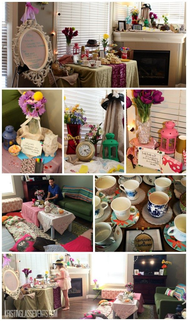 I had wanted to host a tea party for quite some time, and finally did so for my best friend's birthday. This wasn't just any tea party though; it was a Mad Hatter Tea Party. I had a lot of fun piecing together mismatched teapots and teacups, Alice in Wonderland quotes, and a palette of soft, feminine tones.
