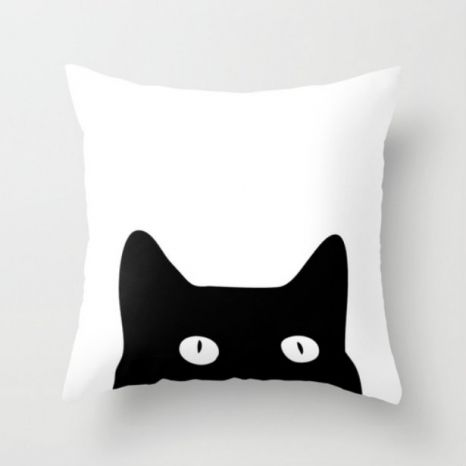 These super cute throw pillows are a great way to add more cat to your home! http://moderncat.com/blogs/modern-cat/black-cat-throw-pillow