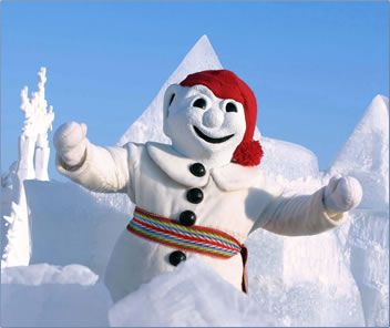 Carnaval de Quebec. Amazing ice sculptures, an ice hotel, this guy...why the heck not?!