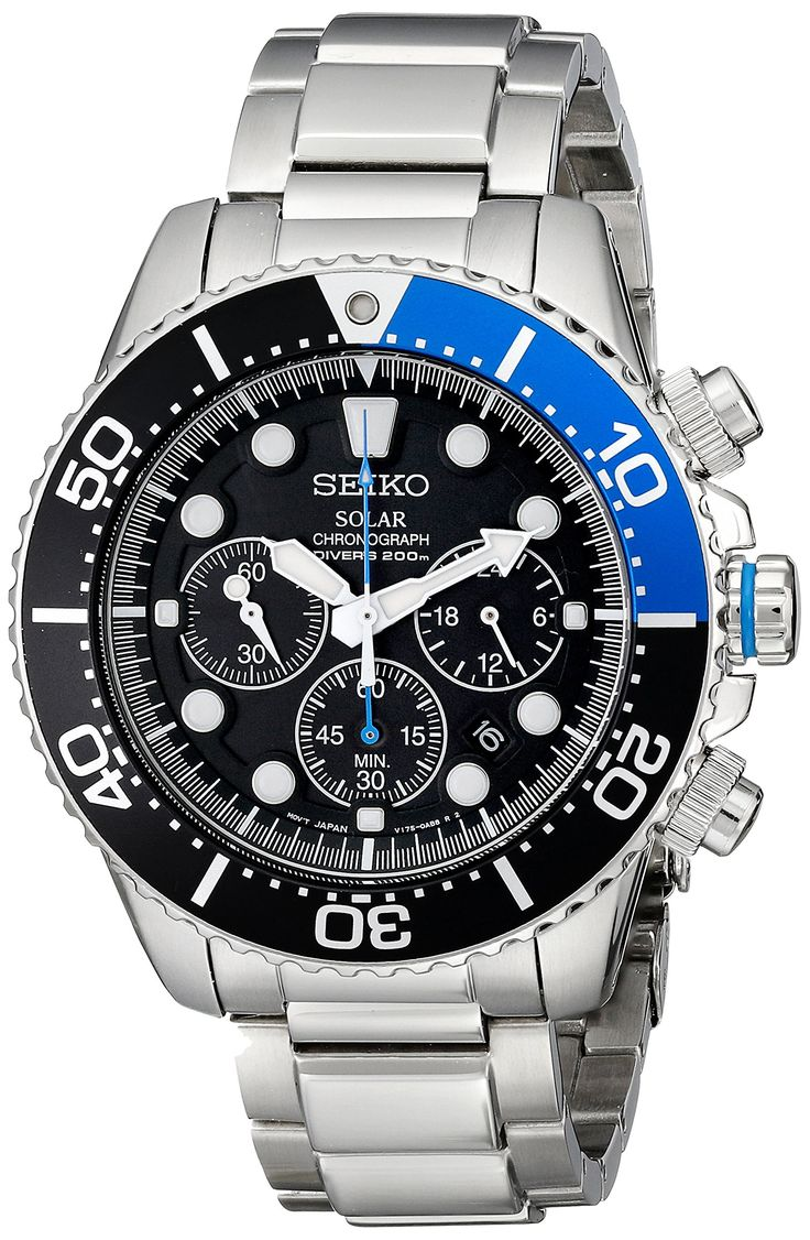 SOLAR POWERED, 55 % DISCOUNT!! Seiko Men's SSC017 Solar Dive Stainless Steel Dive Watch:
