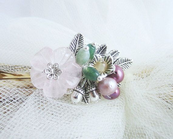Gemstones brooch flower brooch rose quartz by MalinaCapricciosa