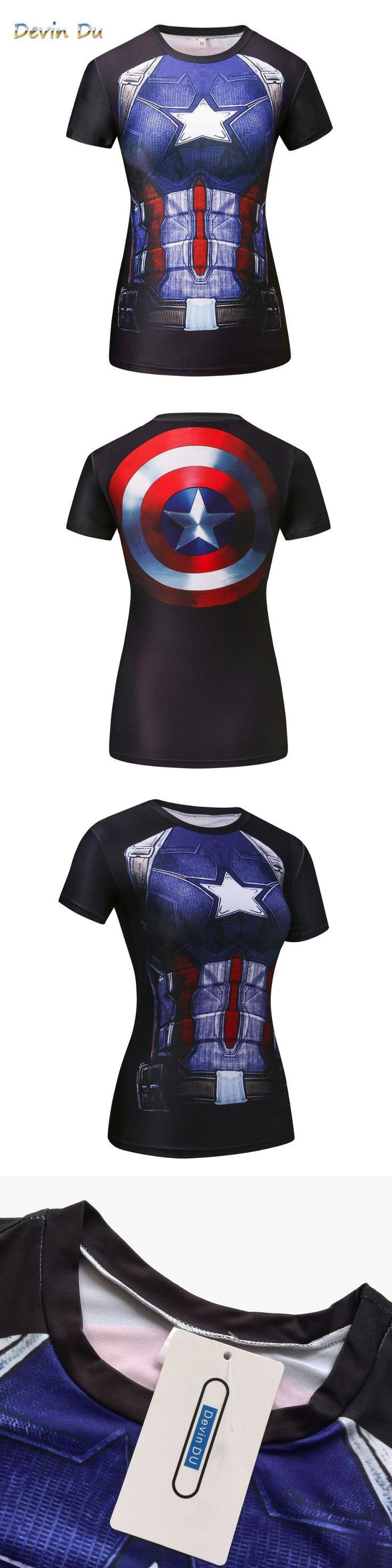 Compression T Shirt Superhero Women batman /Captain America/t Shirts Fitness T-shirts Camiseta Feminina dropship