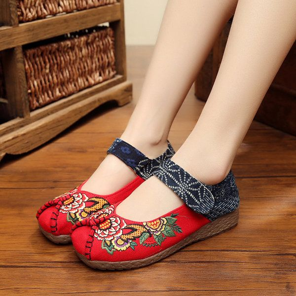 Peony Embroidered Old Peking Hook Loop Flat Shoes newchic.com