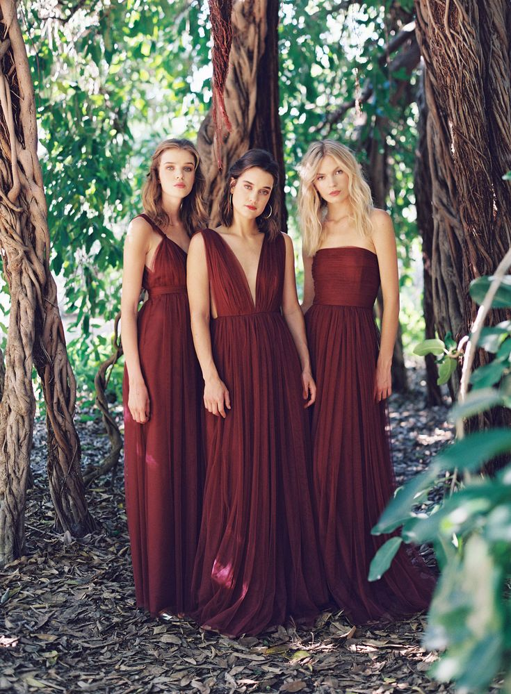 Joanna August is launching all new colors, prints and styles this season, including these rich oxblood tulle bridesmaid gowns from the new Ceremony collection.