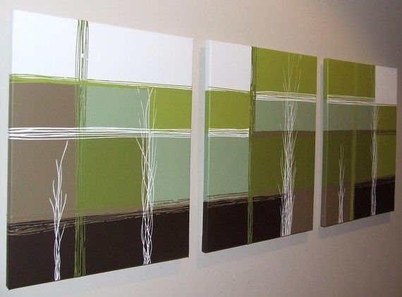 Lime Green Chocolate Brown Cream Abstract Canvas By Artsolutely
