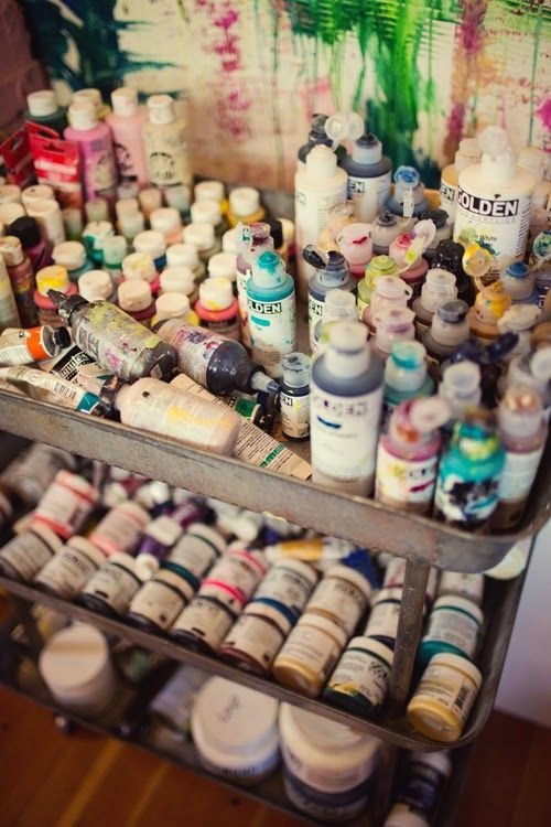 I keep all of my paints (and gel mediums)  in an industrial rolling cart – perfect for moving them around. Carts are tricky to find, but I generally find them at IKEA, or some kind of salvage/junk store