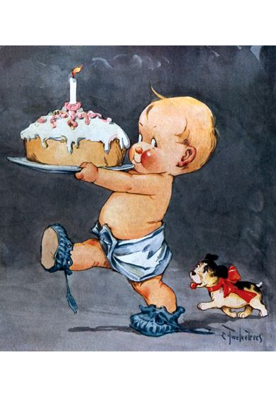 Baby With #1 Cake Greeting Card | Laughing Elephant...Happy Birthday