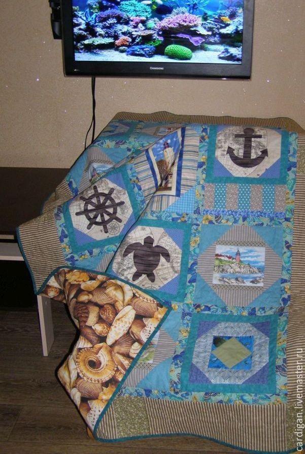 """Купить """"Глубокое синее море"""", лоскутное одеяло. - якорь, морская тематика, морская черепаха"""