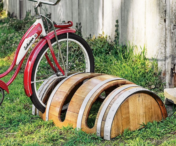 Reclaimed barrel bike rack $600 ($50 ship). Too expensive, but like the concept. Napa Style.