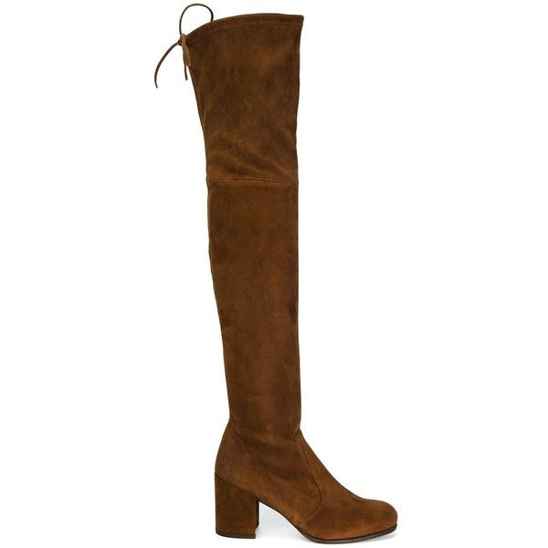Stuart Weitzman over-the-knee boots ($814) ❤ liked on Polyvore featuring shoes, boots, brown, thigh boots, stuart weitzman boots, over the knee boots, thigh high boots and brown thigh high boots