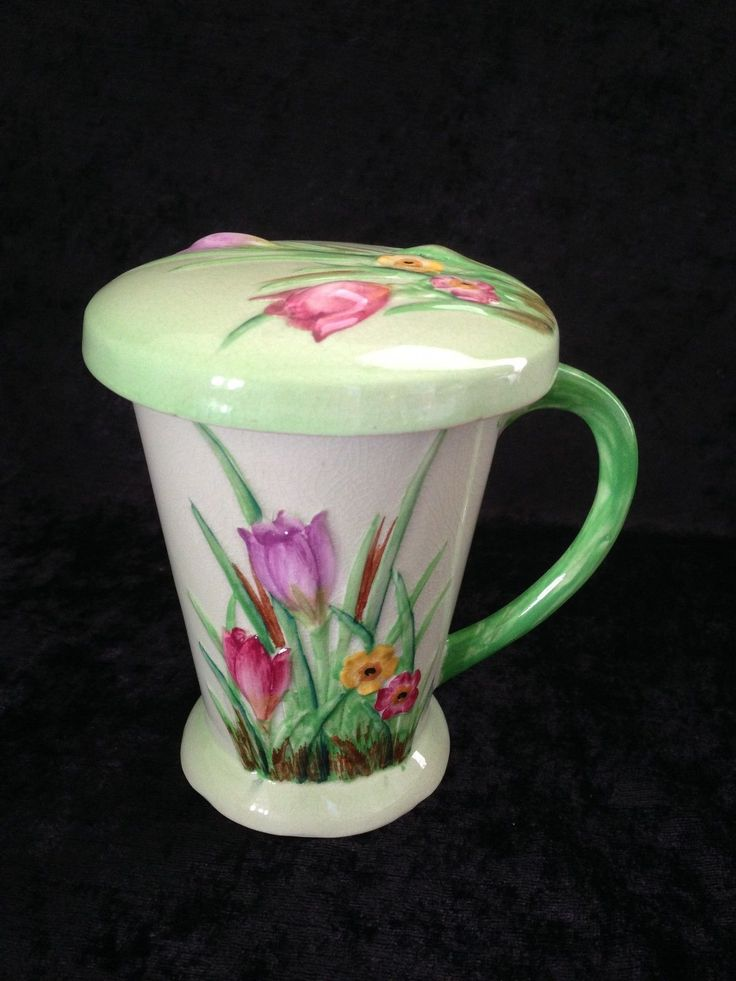CARLTON WARE AUSTRALIAN DESIGN TULIPS FLORAL LIDDED HOT CHOCOLATE MUG & COVER in Pottery, Porcelain & Glass, Porcelain/ China, Carlton Ware | eBay