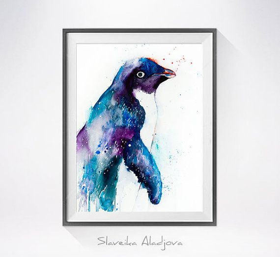 Penguin watercolor painting print Penguin art Animal by SlaviART