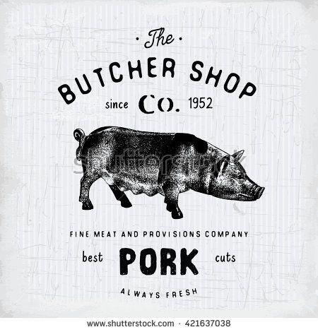 Butcher Shop vintage emblem pork meat products, butchery Logo template retro style. Vintage Design for Logotype, Label, Badge and brand design. vector illustration. - stock vector