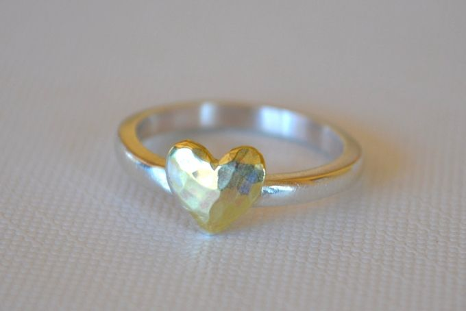 dappled brass heart & sterling silver ring by Antique Fusion Jewellery