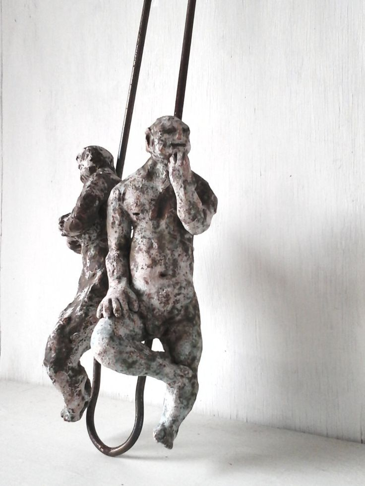 "Industrial rustic barbecue tongs sculpture statues, pair ceramic figurines & recycled metal kitchen decor, barbeque tools, male gift, 18"" by LouiseFultonStudio on Etsy"