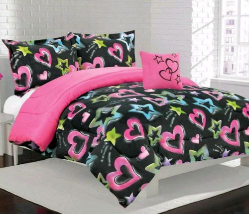 Details About New Girls Kids Teen Cataline Pink Blue Hearts Stars Black Comforter Bedding Set