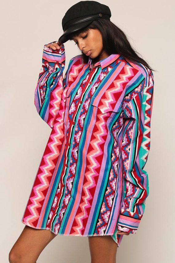 www.shopexile.com flannels-button-shirts 541440477 tribal-shirt-button-up-southwestern-blouse-80s-aztec-top-boho-90s-vintage-long-sleeve-bright-party-purple-blue-red-large