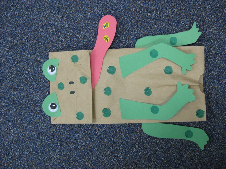 Frog paper bag frog theme pinterest paper bags for Reptile crafts for kids