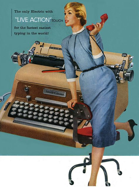 The only electric (typewriter) with live action touch...for the fastest, easiest typing in the world. vintage office secretary 1950s