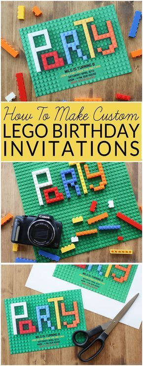 Looking for original or free Lego Birthday Party invitations? This step-by-step tutorial shows you how to make Lego Party Invitations. You can also download a free editable PDF version at http://BrenDid.com. Turn Legos into customs birthday party invitations. Boy Birthday Party Ideas, Lego Birthday, Lego Party, Lego Bricks, DIY Birthday invitations