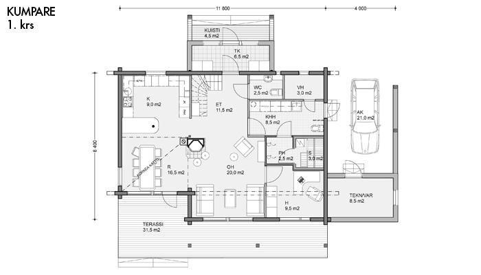 Kumpare layout floor 1 | Honka Finland