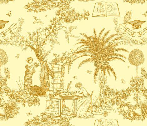 Eva Mameli Calvino - Botanist-gold fabric by chicca_besso on Spoonflower - custom fabric