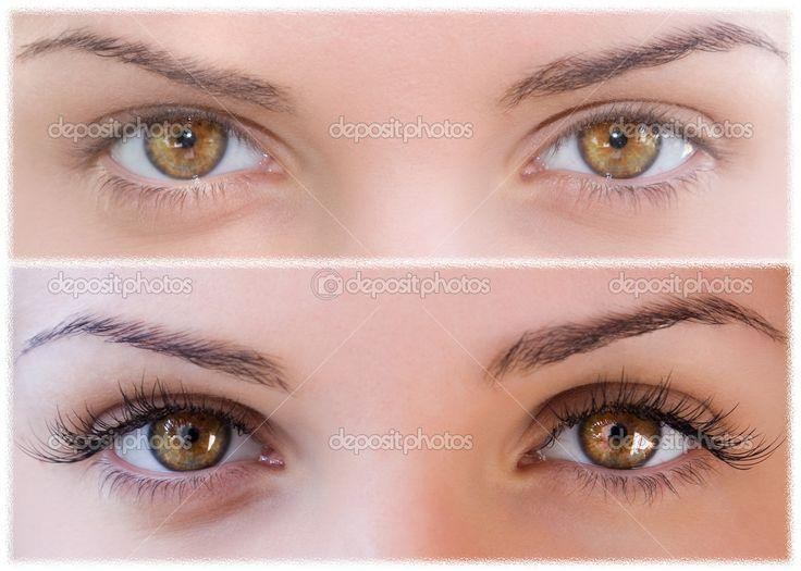 subtle false eyelashes before and after   Natural and false eyelashes before and after. - Stock Image