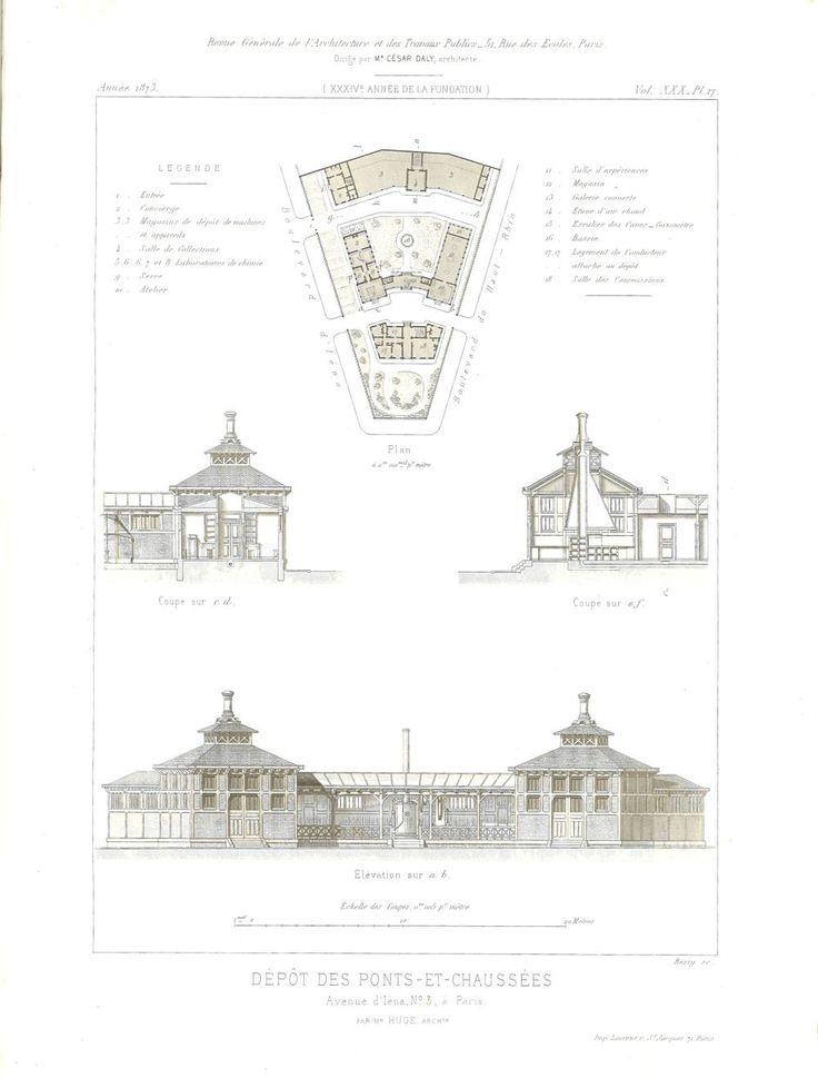 This is floor plan, elevation and section of Dépôt des Ponts-et-Chaussées in Paris, France.