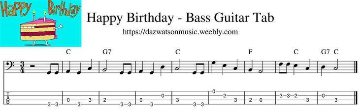 Happy birthday easy bass guitar tab bass guitar tabs