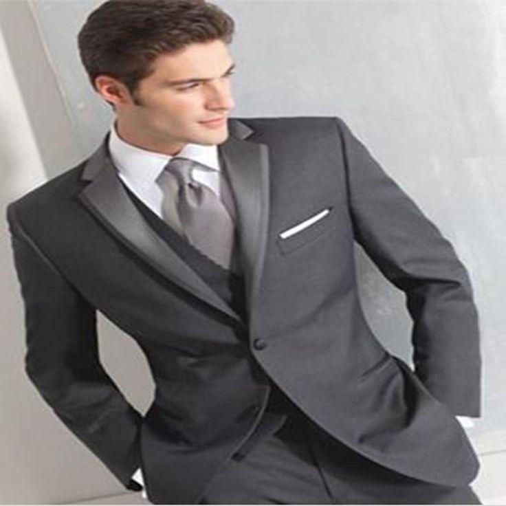==> [Free Shipping] Buy Best Custom Made Fashion Dark Grey Men Business Suit Men Wedding Suits Groom Tuxedos Best man Suit Groomsman(JacketVestPantTie) Online with LOWEST Price | 32465941264
