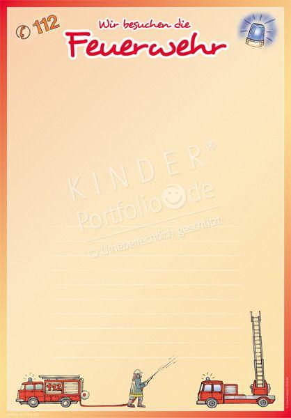 """Kindergarten Portfolio Vorlagen """"Wir besuchen die Feuerwehr"""""""